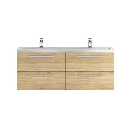 Hudson Reed Quartet Natural Oak 1440mm Double Cabinet & Basin - QUA004