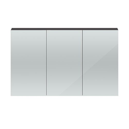 Hudson Reed Gloss Grey Quartet 1350mm Wall Hung Mirror Cabinet - QUA010