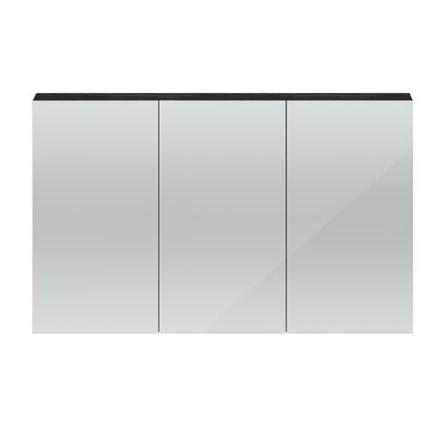 Hudson Reed Hacienda Black Quartet 1350mm Wall Hung Mirror Cabinet - QUA011