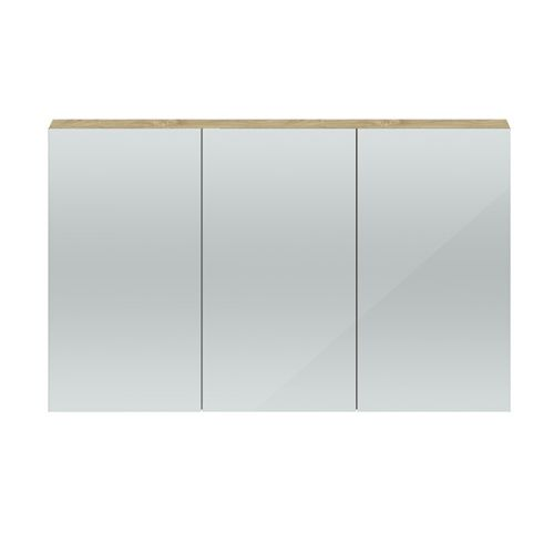Hudson Reed Natural Oak Quartet 1350mm Wall Hung Mirror Cabinet - QUA012