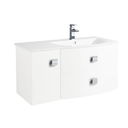 Hudson Reed Sarenna Textured Wood Grain White Wall Hung 1000mm Right Hand Cabinet and Basin - SAR119R