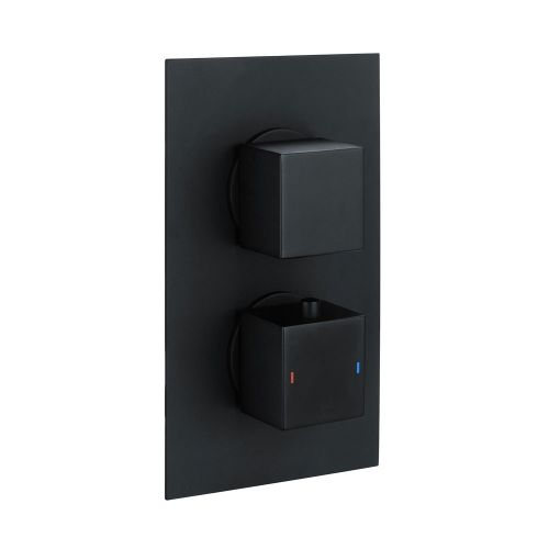 Black Square Concealed Twin Thermostatic Shower Valve by Voda Design