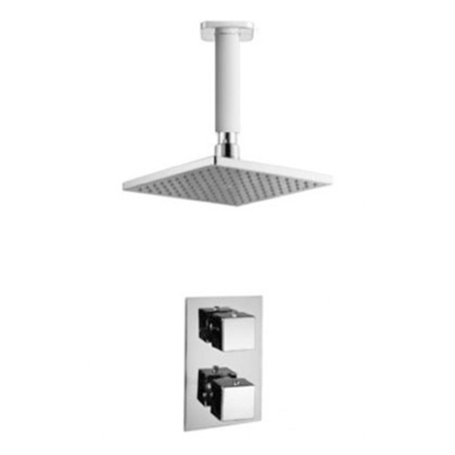 Square Thermostatic Ceiling Mounted Shower Set