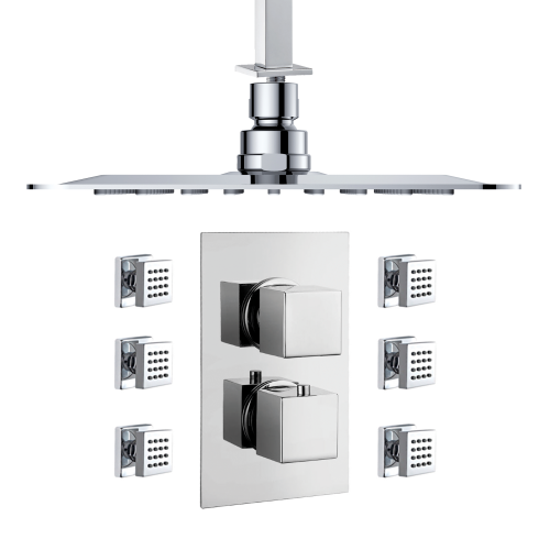 Square Thermostatic Diverter Shower with Body Jets
