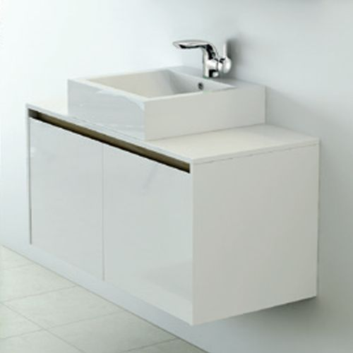 White 1000mm Wall Hung Vanity Unit With Countertop Basin - Zeke By Voda Design