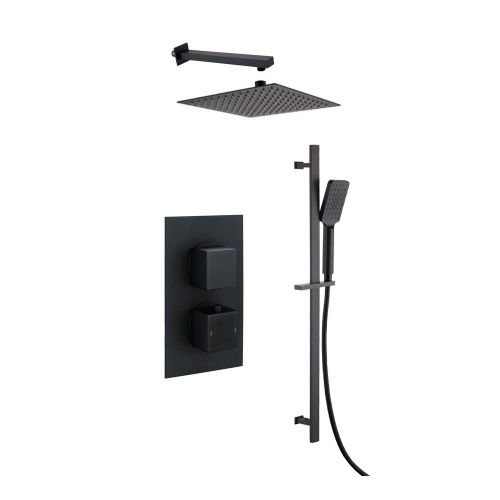Black Square Concealed Twin Thermostatic Shower Valve, Slide Rail Kit, Fixed Head & Arm - Bathshop321