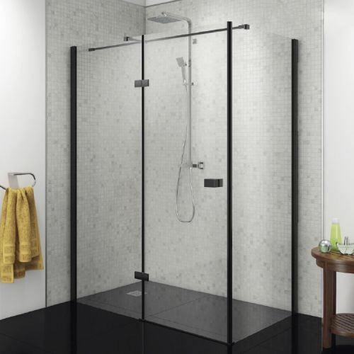 Vodas 8 Stella 8mm Black Hinged Shower Enclosure