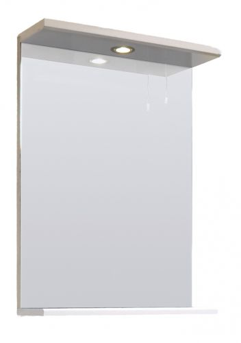 White Gloss 550mm Mirror and Light Canopy - Blanco by Voda Design