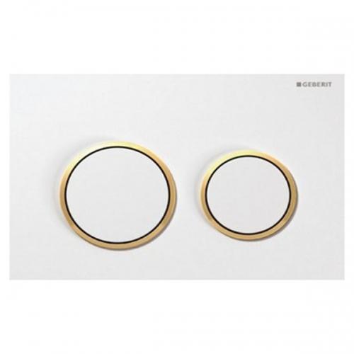 Geberit Omega20 Dual Flush Plate White Gloss Gold 115.085.KK.1