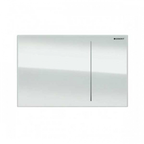 Geberit Omega 70 Dual Flush Plate for Solid Wall White Glass 115.090.SI.1