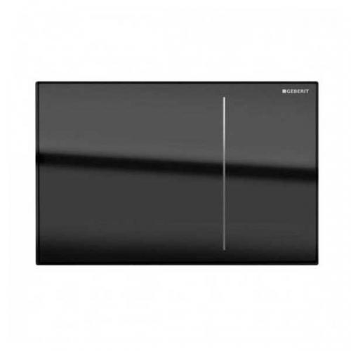 Geberit Omega 70 Dual Flush Plate for Solid Wall Black Glass 115.090.SJ.1