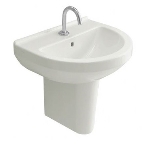 VitrA S50 Round Basin Options with Small Half Pedestal