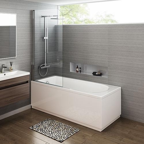 1700mm Trojan Straight Bath & Screen - Made In UK