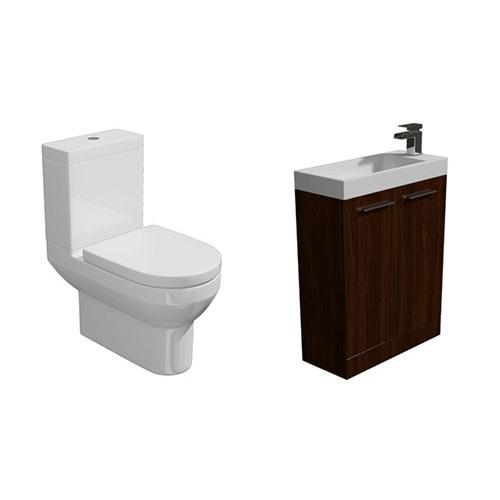 Designer Furniture Light Walnut Cloakroom Suite 560mm