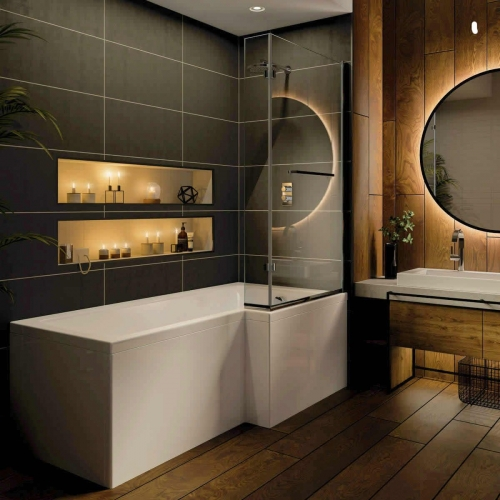 Trojan Elite 1675mm L Shape Shower Bath - Made In UK, With Screen & Bath Panel