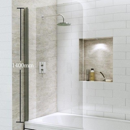 1400mm Straight Bath Screen with Curved Corner - Kaso 6 by Voda Design (6mm Thick)