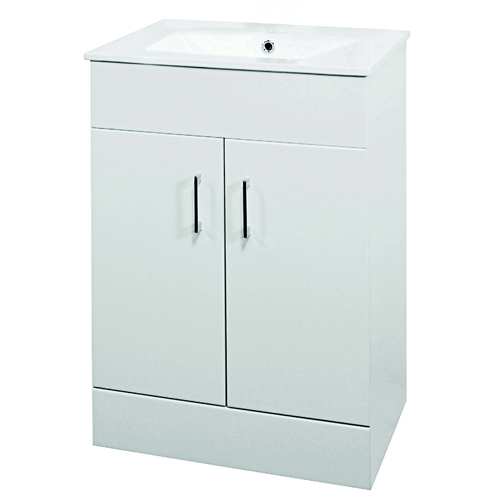 600mm White Minimalist Furniture Unit and Basin - Eden