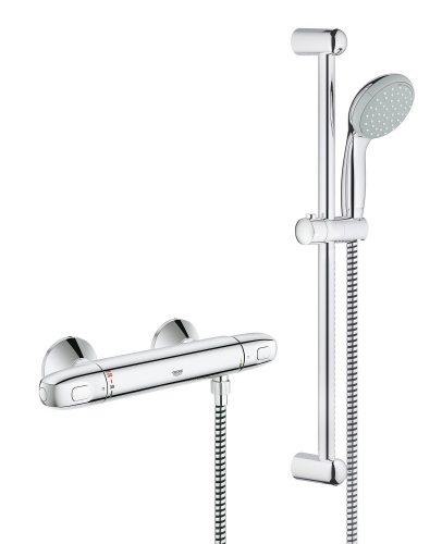 """Grohe 34557000 G1000 Thermostatic Shower Mixer 1/2"""" With Shower Set"""