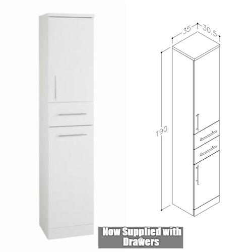 Blanco High Gloss White 350mm x 305mm Floor Standing Tall Boy