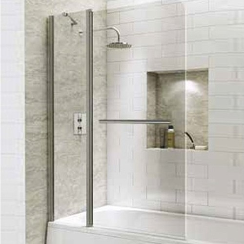 1400mm Extended Straight Bath Screen with Curved Corner & Towel Rail - Kaso 6 by Voda Design (6mm Thick)