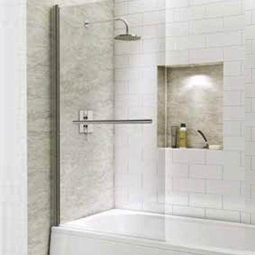 1400mm Straight Bath Screen with Square Corner & Towel Rail - Kaso 6 by Voda Design (6mm Thick)