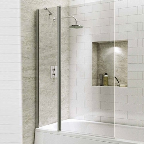 1400mm Extended Straight Bath Screen with Square Corner - Kaso 6 by Voda Design (6mm Thick)