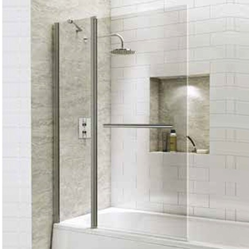 1400mm Extended Straight Bath Screen with Square Corner & Towel Rail - Kaso 6 by Voda Design (6mm Thick)