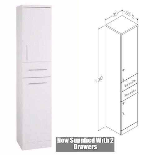Blanco High Gloss White 350mm x 335mm Floor Standing Tall Boy
