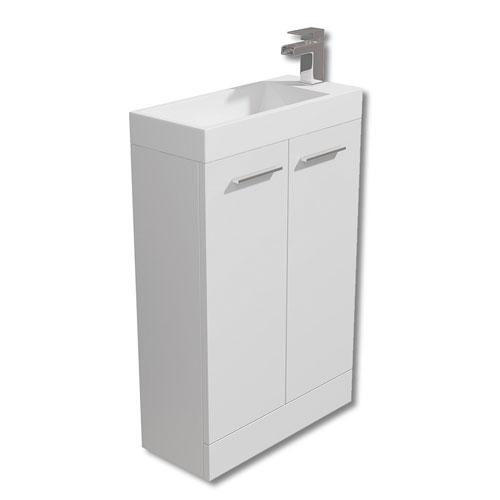 560mm White Floor Standing Vanity Unit & Basin - Evora By Arley