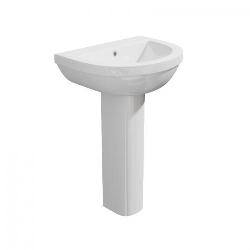 Alpha - Ceramic White Round Washbasin Sink and Pedestal