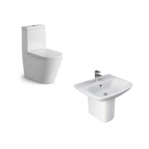 Rimless Close Coupled Toilet & 650mm Basin (1 Tap Hole)