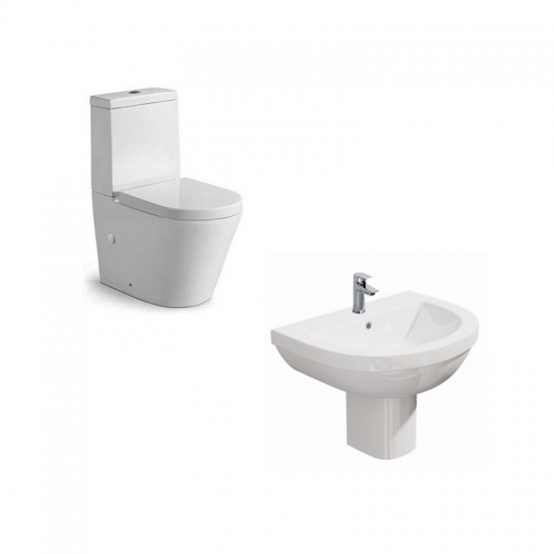 Rimless Close Coupled Toilet & 550mm Basin (1 Tap Hole)
