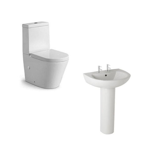 Rimless Close Coupled Toilet & 550mm Basin (2 Tap Hole)