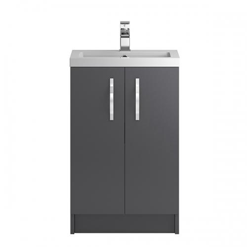 Hudson Reed Grey Apollo Floor Standing 500mm Cabinet & Basin - APL424