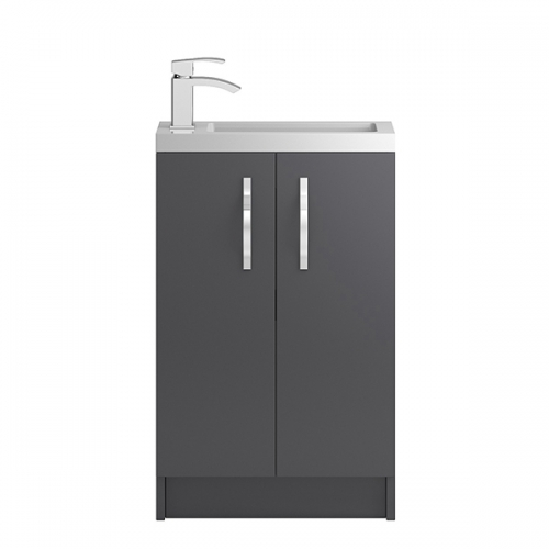 Hudson Reed Grey Apollo Compact Floor Standing 500mm Cabinet & Basin - APL424C