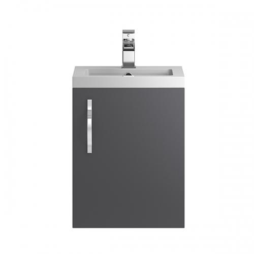 Hudson Reed Grey Apollo Wall Hung 400mm Cabinet & Basin - APL432