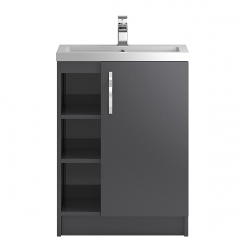 Hudson Reed Grey Apollo Floor Standing 600mm Cabinet & Basin With 3 Shelves - APL476