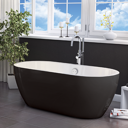 Freestanding Luxury Double Ended Bath 1655 x 750 mm - Black San Marlo by Synergy