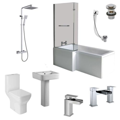 L Shape Shower Bath Suite - Elite