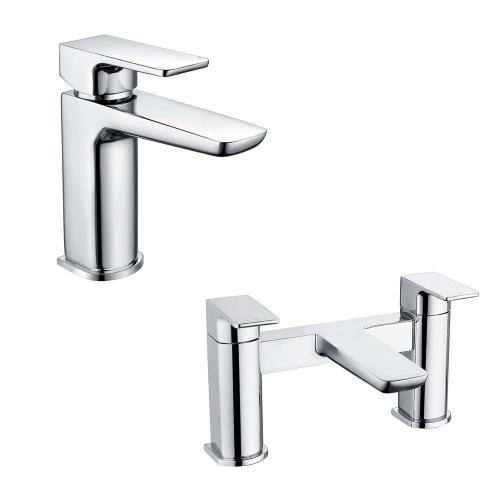 Basin & Bath Tap Set - Chrome Lever - By Voda Design