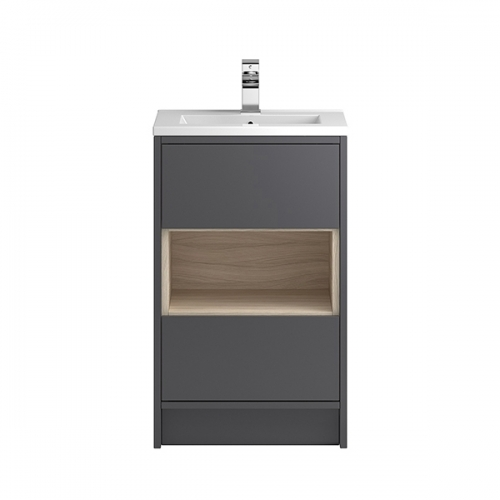 Hudson Reed Grey Coast 500mm Floor Standing Vanity Unit with basin option 1 - CST874E