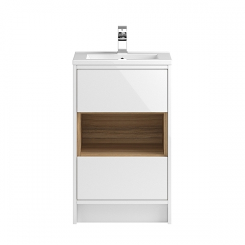 Hudson Reed White Coast 500mm Floor Standing Vanity Unit with basin option 1 - CST974E