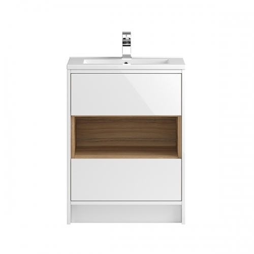 Hudson Reed White Coast 600mm Floor Standing Vanity Unit with basin option 1 - CST976E