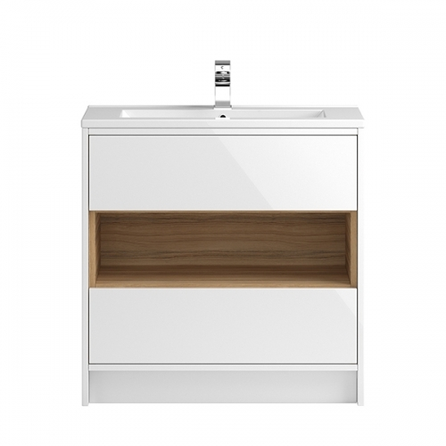 Hudson Reed White Coast 800mm Floor Standing Vanity Unit with basin option 2 - CST978