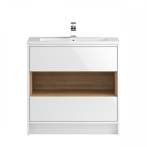 Hudson Reed White Coast 800mm Floor Standing Vanity Unit with basin option 1 - CST978E