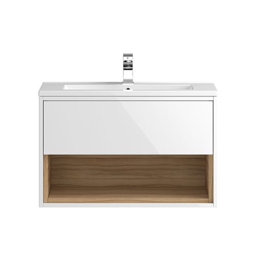 Hudson Reed White Coast 800mm Wall Hung Vanity Unit with basin option 2 - CST988
