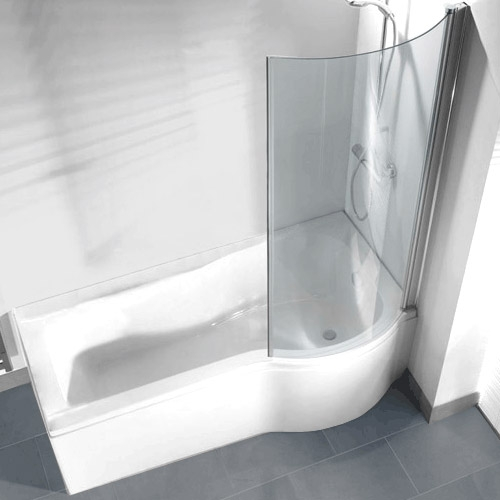 Curved Return Screen for P Shaped Shower Bath