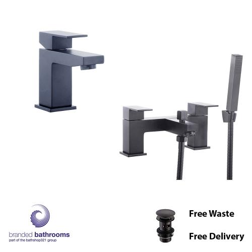Black Tap Set Douglas Mono Basin Mixer, Bath Shower Mixer - Free Waste