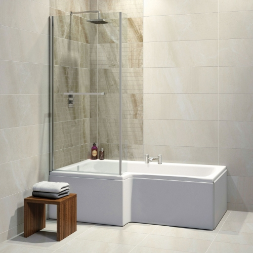 1675mm L Shower Bath - Made In UK, with 6mm Screen & Bath Panel
