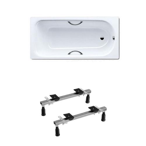 Kaldewei Eurowa 311 Anti Slip Steel Bath Drilled For Twin Grips 1600 x 700mm No Tap Holes Inc Legs & Grips